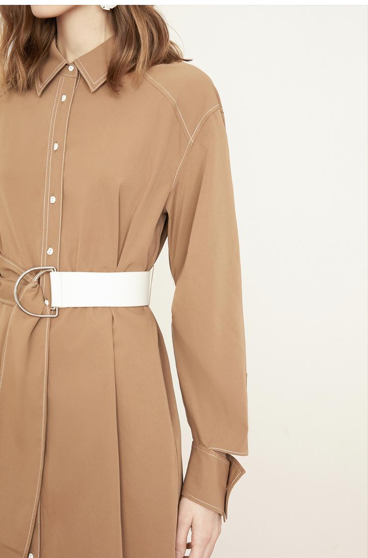 Lily2019春新款女装修身版型,腰带设计,袖口造型衬衫连衣裙