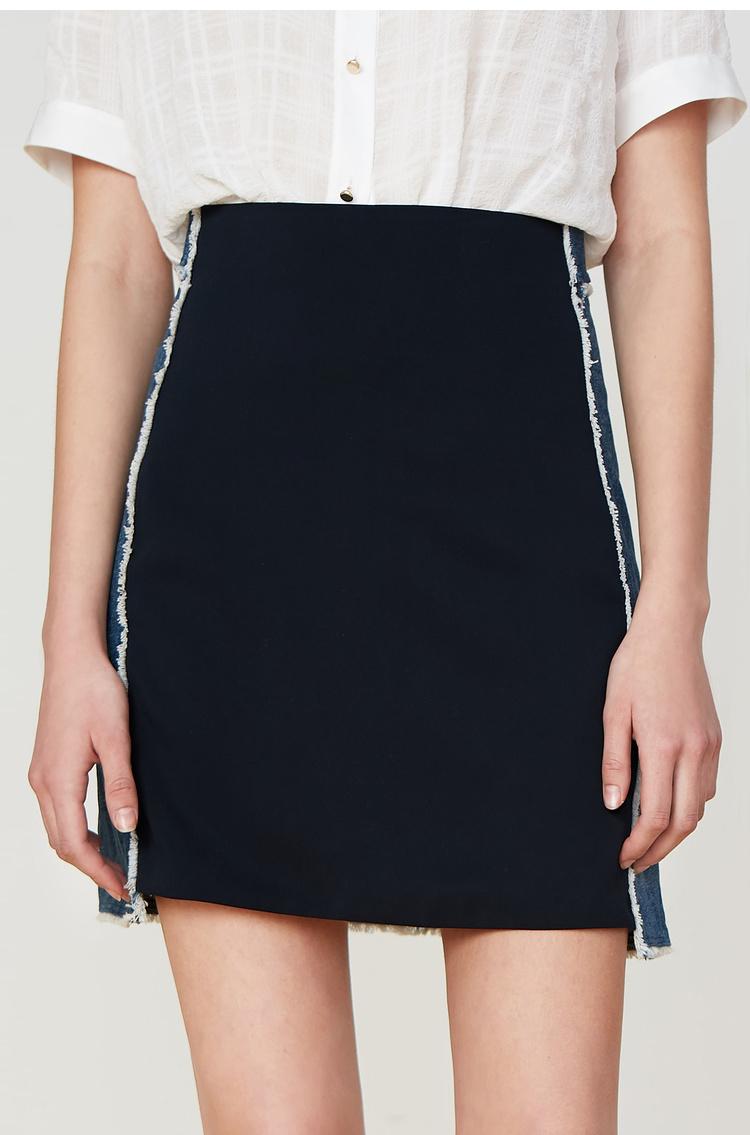 Lily2019夏新款女装时尚牛仔拼接,年轻好搭配,A字轮廓短裙半身裙