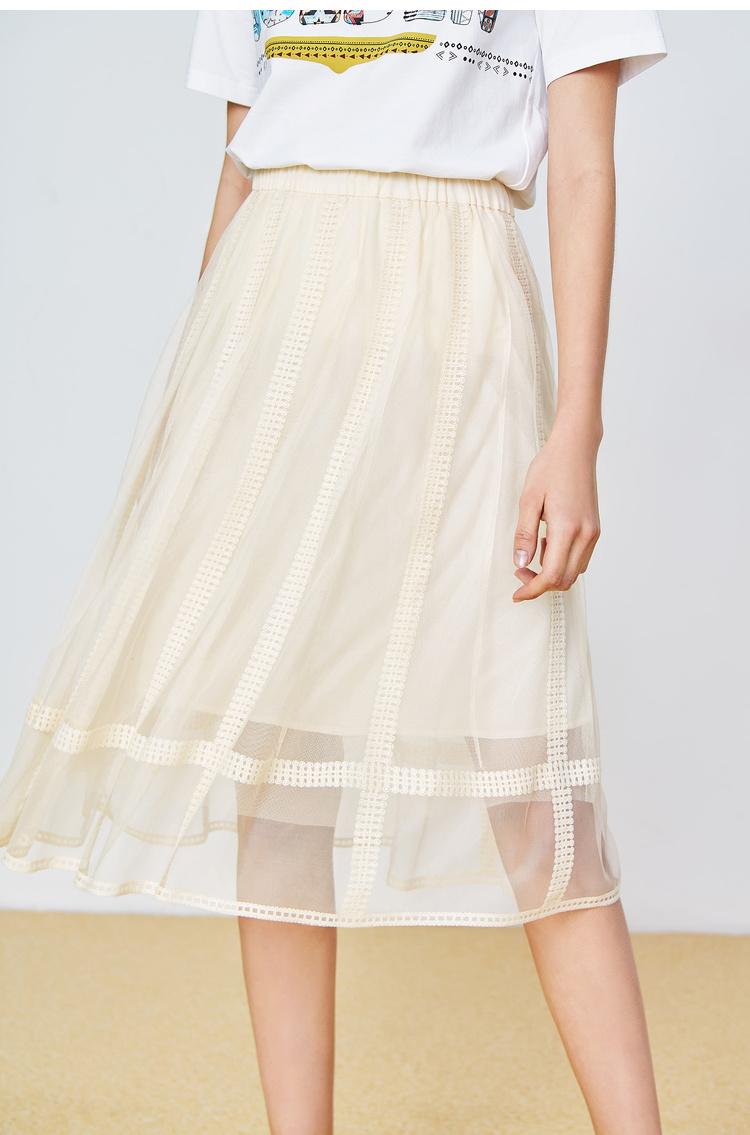 Lily2019夏新款女装仙气A字修身拼接蕾丝松紧腰网纱半身裙松紧腰,双层网纱,甜美可人
