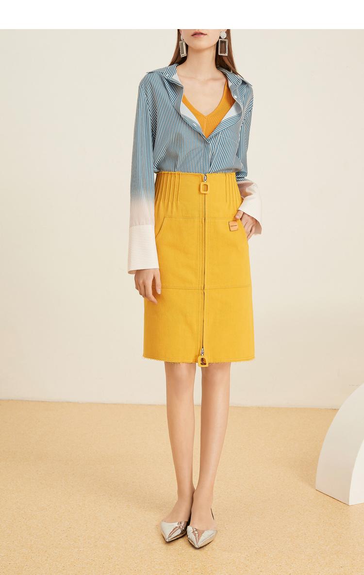 Lily2019夏新款女装直身版型,拉链造型,肌理牛仔牛仔半身裙