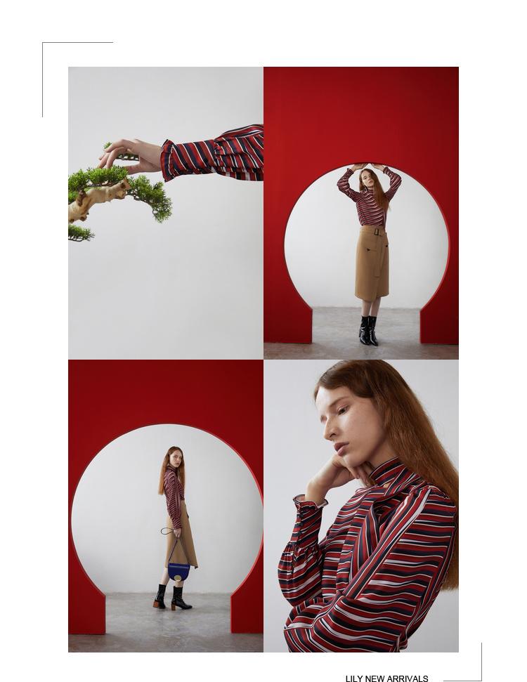 Lily2019春新款女装直身版型,条纹印花,领口镂空衫雪纺衫