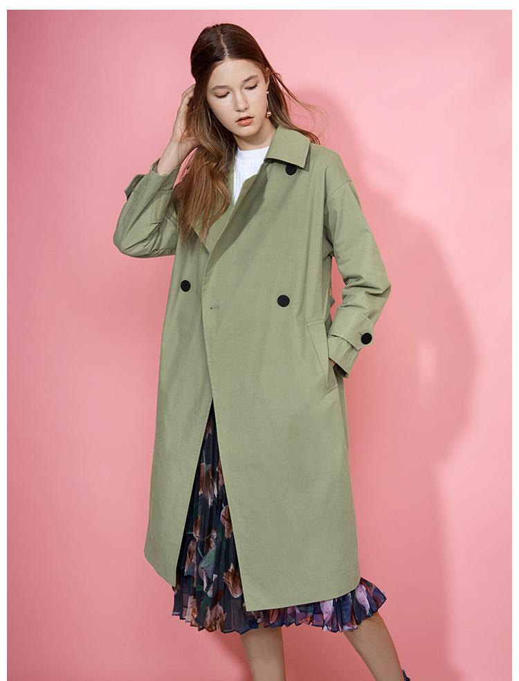 Lily上班族女装中长款修身系腰带风衣外套117329C1918