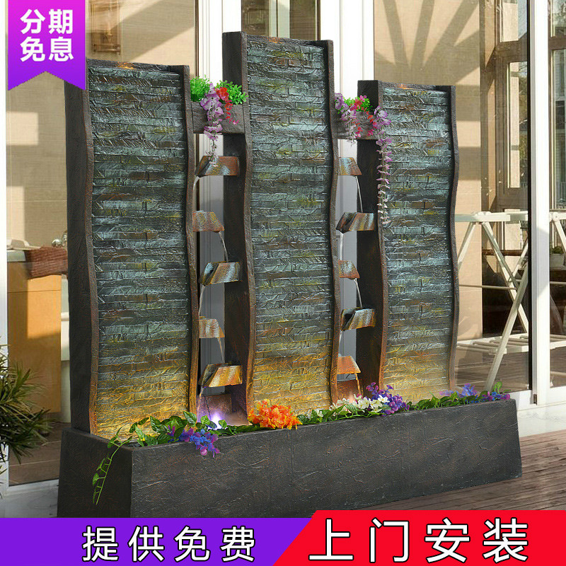 Landscape Home Creative Decoration Large Water Curtain Water Wall Fountain  Waterfall Aquarium Hotel Club Living Room