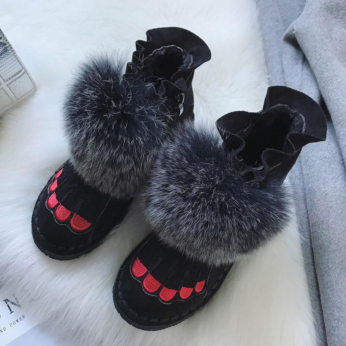 毛毛女短靴2018冬季新款加绒棉鞋平底百搭韩版厚底雪地毛狐狸棉靴