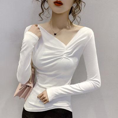 95棉性感褶皱V领长袖t恤女装2021年秋季新款修身显瘦打底衫上衣潮