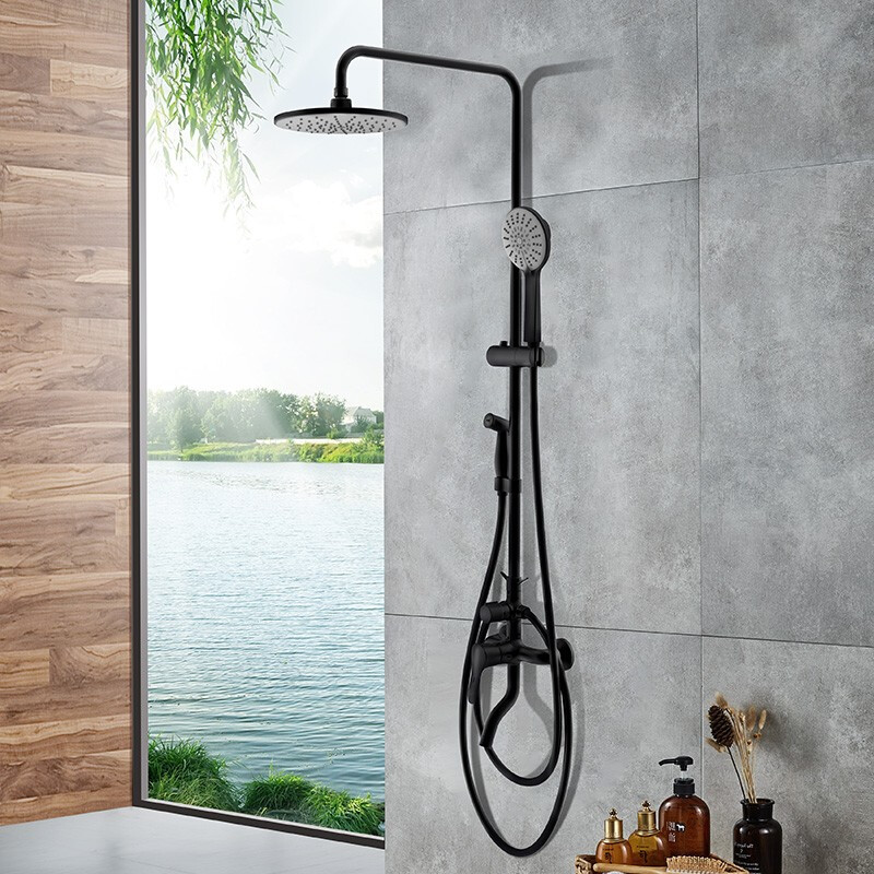 Nine animal husbandry JOMOO 36430 new shower set black anti-hot rain shower hard tube shower