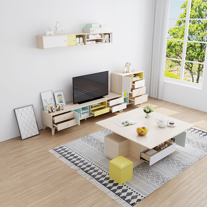 Nordic multi-functional TV cabinet coffee table combination suit modern minimalist small apartment living room backdrop TV cabinet
