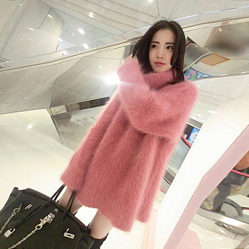 秋冬新款女装韩版宽松中长款水貂绒套头高领加厚马海毛毛衣女外套
