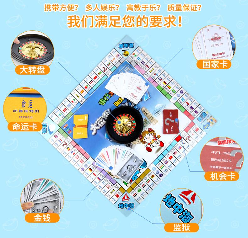 正版大富翁超大童经典豪华版桌游游戏棋强手棋世界之旅中国之旅详细照片