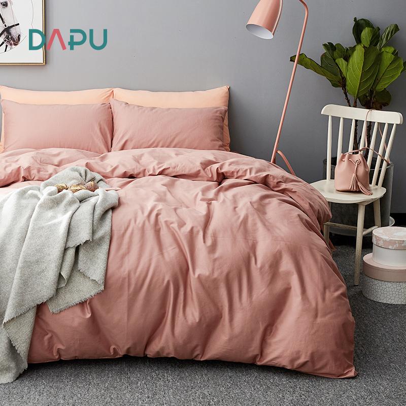 大朴A类全棉磨毛床上四件套纯棉保暖绒被套单双人床单纯色北欧风