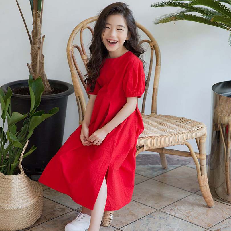 夏季新款女童短袖连衣裙圆领蓬蓬下摆开叉中长款大童亲子母女装裙