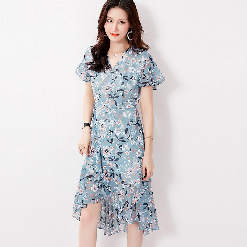 瑞丽高雅花色气质裙a花色女民族中式高端夏装风水墨裙装连衣裙雪纺