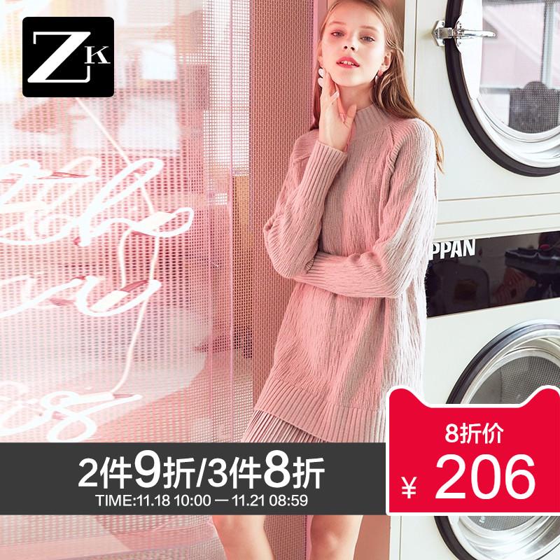 ZK高领毛衣裙针织连衣裙女长袖打底宽松中长款法式拼接2018秋冬装