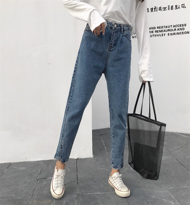 New autumn and winter women's straight waist loose loose students wild irregular nine points jeans female