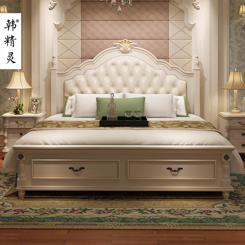 韓精靈美式床歐式床簡約現代雙人1.8主臥床韓式鄉村家具田園婚床