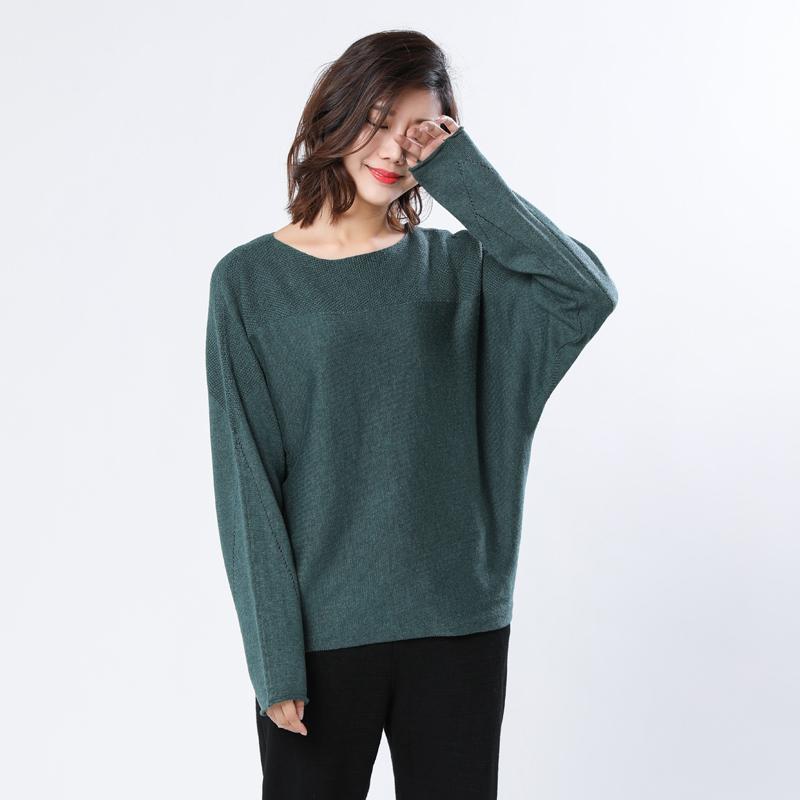 2018秋季新款蝙蝠袖圆领女宽松毛衣篇幅长袖羊毛衫针织套头外穿