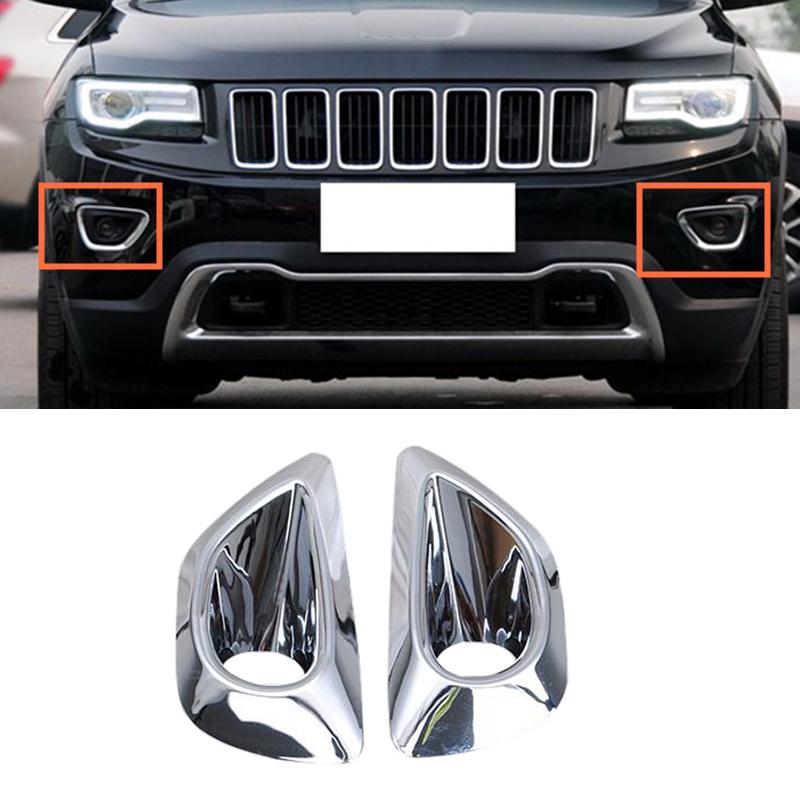 fit 2011-2013 Jeep Grand Cherokee Chrome Front Bumper Fog Lamp Light Cover Decor