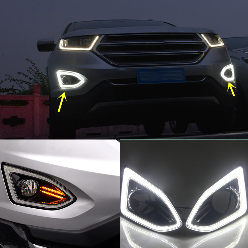 White Led Daytime Running Lights Drl For Ford Edge 2015