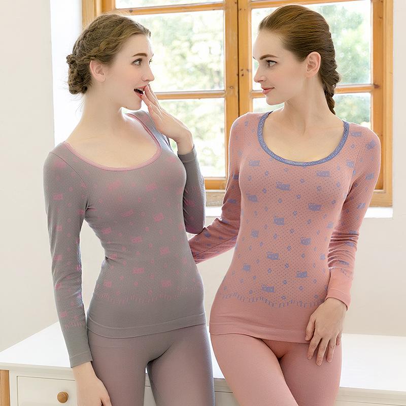 塑身美体女士保暖套装纯色蕾丝保暖内衣薄绒套装大码冬季