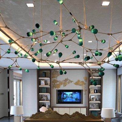 Postmodern Molecular Chandelier Simple Glass Dining Room Living Room Bedroom Light Warm Romantic Firefly Branch Chandelier