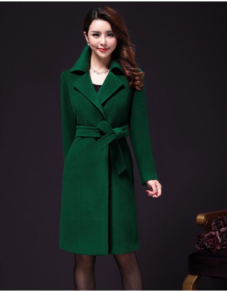 王小鸭羊绒大衣女中长款大码女装2015冬装新款高端中年毛呢外套女
