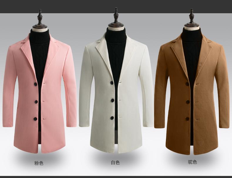 19秋冬男士毛呢大衣韩版修身中长款风衣男装外套D67P40量大优惠
