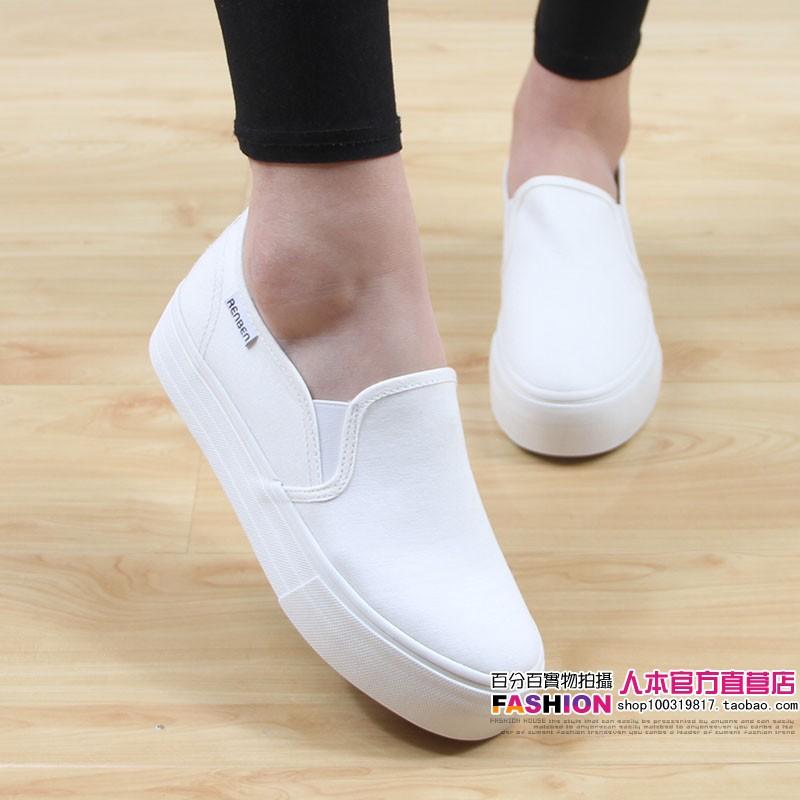 人本帆布鞋女鞋韩版平底低帮厚底一脚蹬乐福鞋学生休閒鞋板鞋详细照片