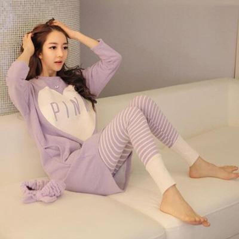 Mùa xuân và mùa thu Đồ ngủ Hàn Quốc phụ nữ mùa thu dài tay mỏng phần áo khoác tươi sinh viên phục vụ nhà hai mảnh phù hợp với phụ nữ mùa đông - Pyjama