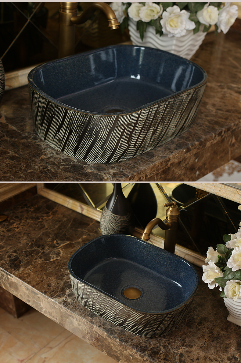 Jingdezhen ceramic stage basin square carved antique toilet lavatory sink glaze increased thickening