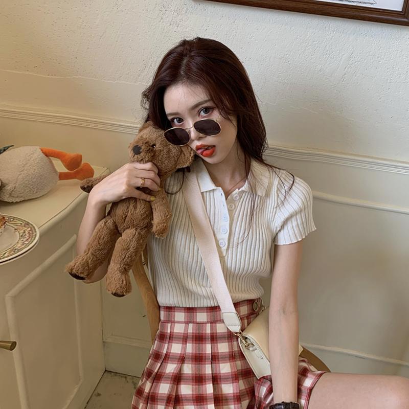 短袖针织衫女春季2020新款韩版网红POLO领修身百搭打底上衣衫短款