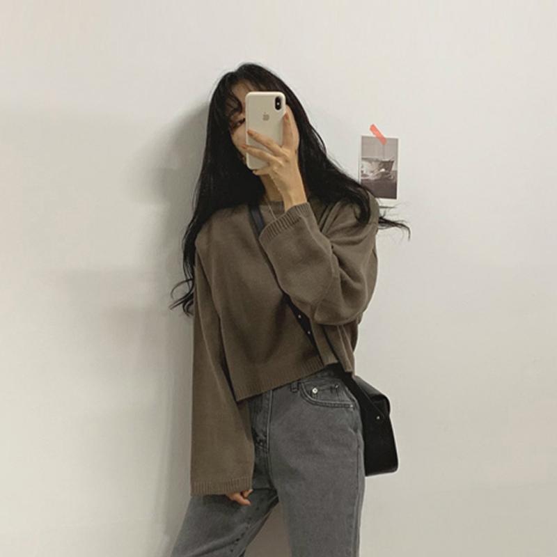 日系秋装2019新款韩版网红套头毛衣女宽松外穿长袖短款针织衫上衣