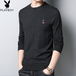Playboy 2020 spring and autumn thin sweater men's round neck bottoming sweater young men's cardigan long T-shirt
