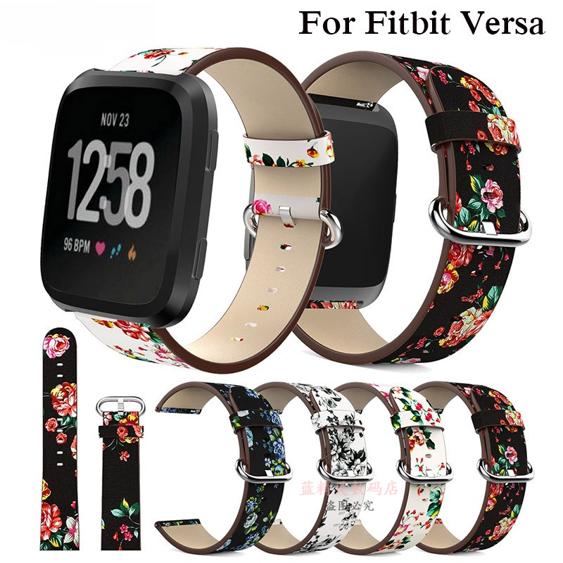 Fitbit Versa smart watch with Versa Lite leather idyllic floral leather wristband men and women