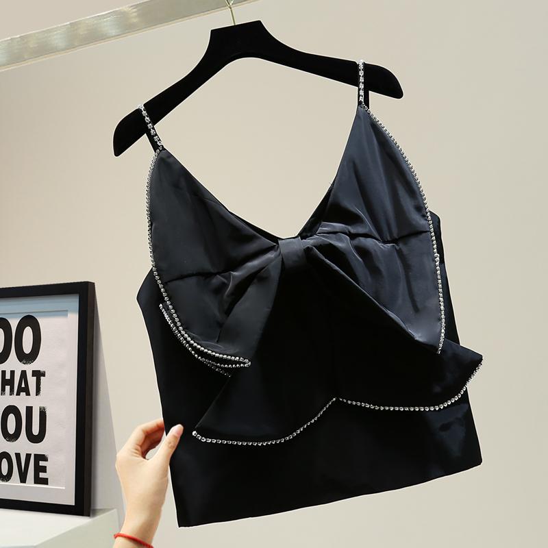 Mùa hè 2020 Hàn Quốc áo khoác giảm béo mỏng thời trang thiết kế khí chất cảm giác kim cương nơ yếm gợi cảm - Áo ba lỗ