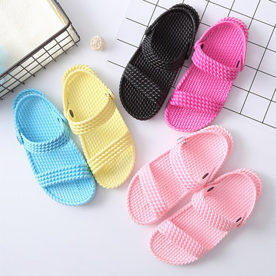 Summer stepper, ladies home beach comfortable flat double plastic solid color sandals, bathroom, non-slip slippers