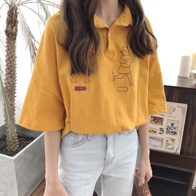 2018新款五分袖港味白色t恤韩版宽松显瘦POLO领百搭上衣学生女夏