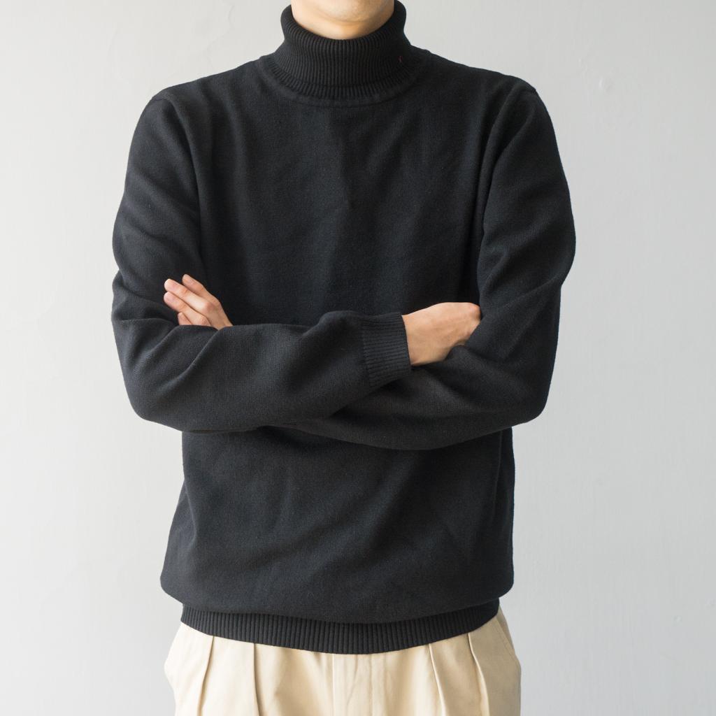 Phòng thí nghiệm cửa hàng Nhật Bản phong cách siêu thoải mái rắn màu áo thun cao cổ áo len áo len cao cổ