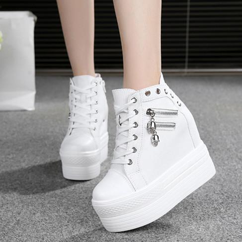 春季白色隐形内增高女鞋12cm秋厚底高帮休闲松糕超高跟坡跟帆布鞋