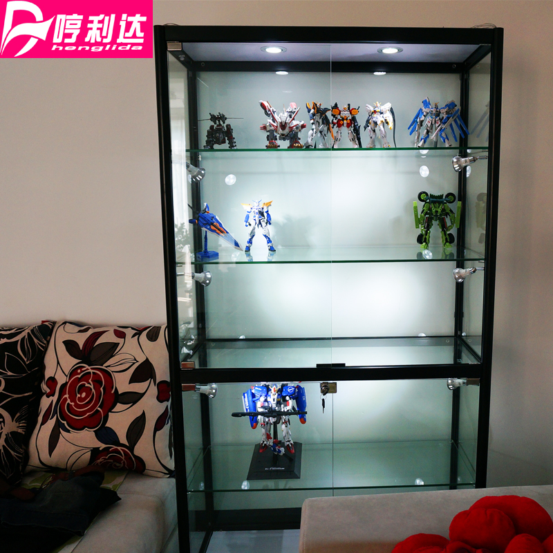 Hand Made Display Cabinet Small Glass Transparent Showcase Toy Up To Cabinet  Car Lego Model Cabinet Anime Showcase