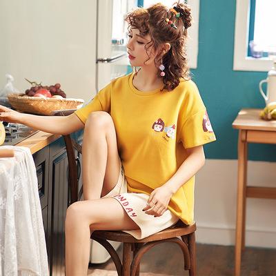 2020夏季纯棉睡衣女士短袖短裤套装韩版可爱卡通大码女装休闲薄