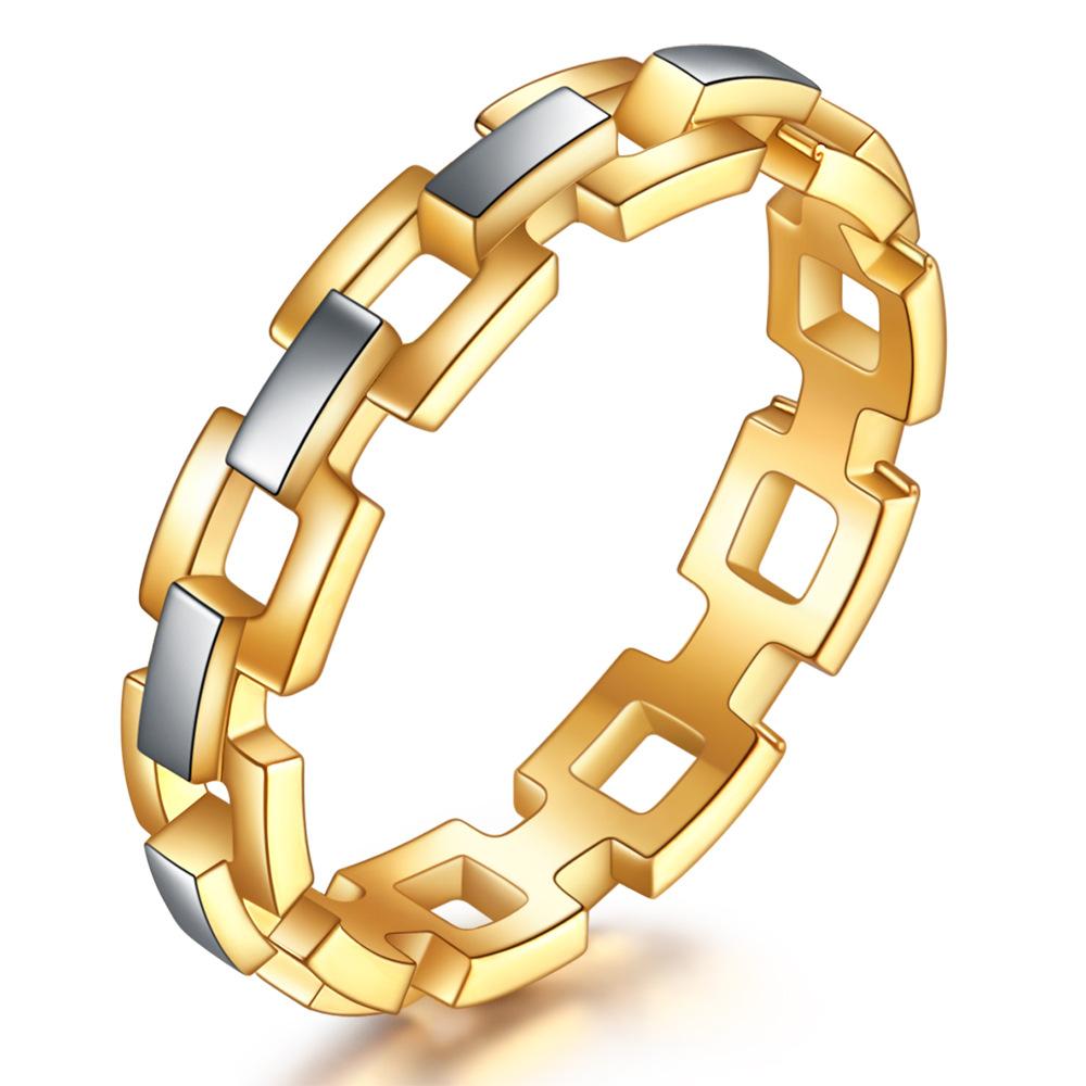 中國代購|中國批發-ibuy99|新款日韩国潮ISN钛钢戒指小众设计间金不锈钢指环镂空戒指