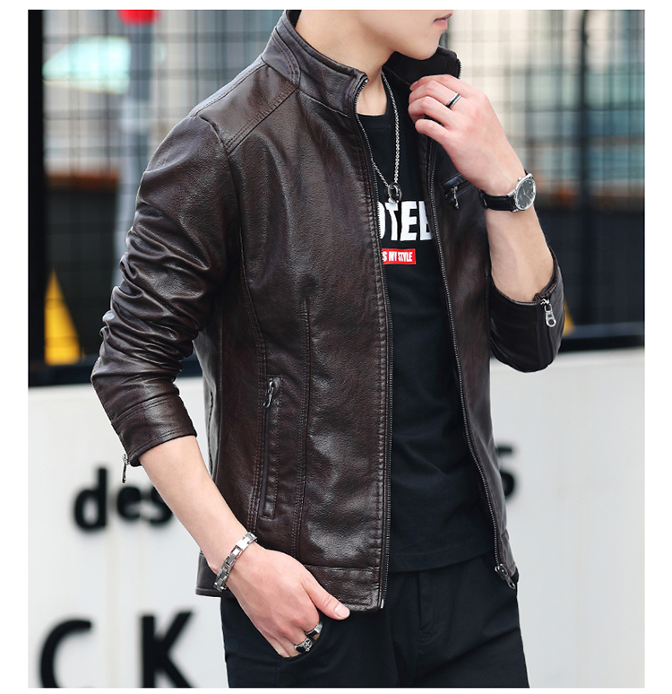 Men's leather 2020 autumn/winter new leather jacket handsome big size locomotive clothes trend a hundred men's jackets 55 Online shopping Bangladesh