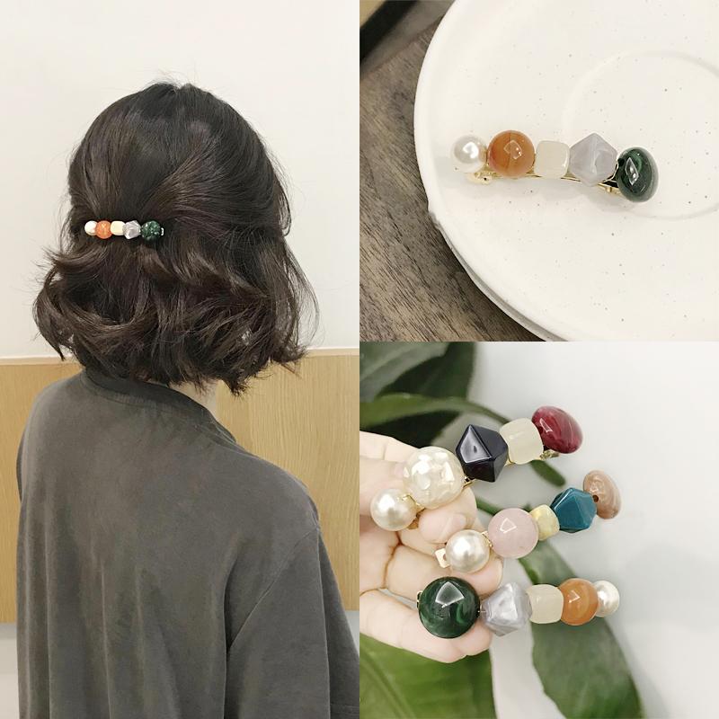 韩国洋气发夹亚克力珠珠弹簧一字饰品夹个性高档发饰顶夹气质女