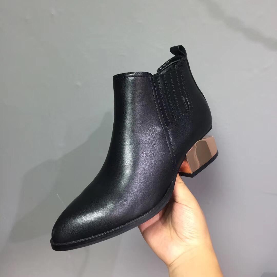 2018尖头山大王女靴小秋冬切跟牛皮裸靴网红同款断跟短靴切尔西靴