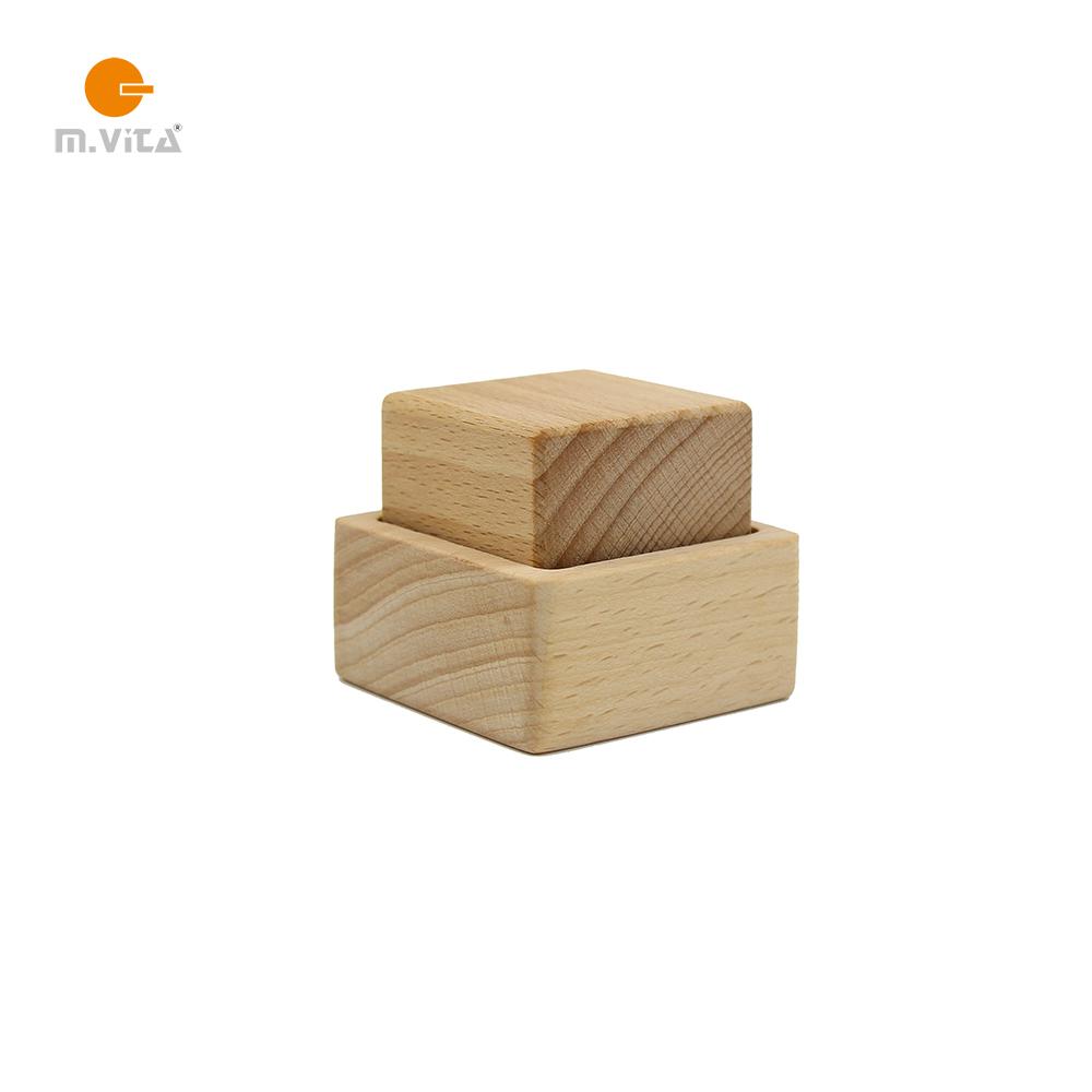 蒙生蒙台梭利NIDO 手眼协调教具 立方体和盒子 榉木 无漆