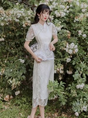 夏季新款法式复古小众珍珠蕾丝旗袍改良旗袍连衣裙收腰显瘦气质