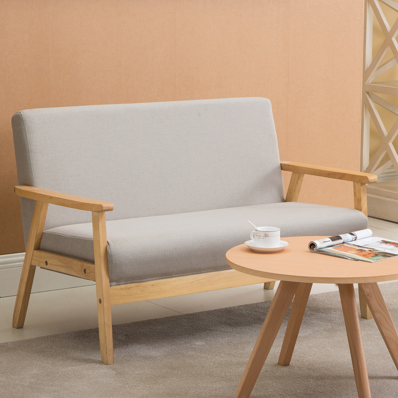 Nordic Wood Single Double Three Simple Japanese Style Sofa Chair Living  Room Fabric Modern Simple Small ...