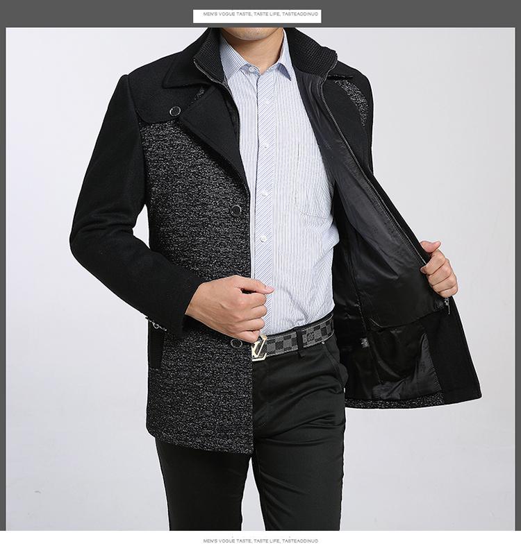 Áo len mùa đông trung niên của người đàn ông len trong phần dài của áo gió dày trung niên cha nạp áo Nizi