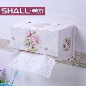 SHALL/希尔 吸壁式欧式纸巾盒抽纸盒 挂壁吸盘式厨房用抽纸盒