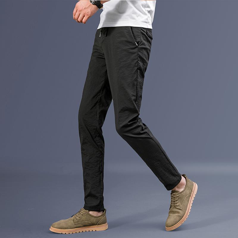 冰丝薄款休闲裤男韩版潮流修身直筒男裤宽松夏季休闲长裤子